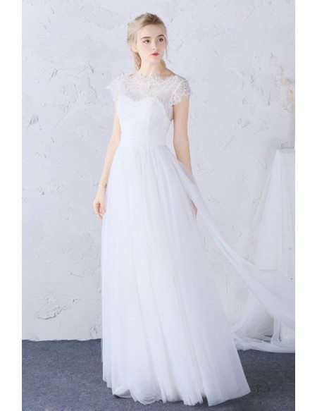 Modest High Lace Neckline Long Tulle Boho Wedding Dress Cap Sleeves