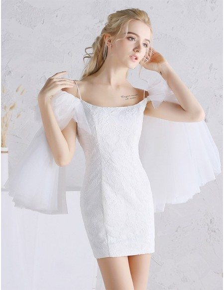 Mini Short Sheath Lace Wedding Dress with Tulle Butterfly Sleeves