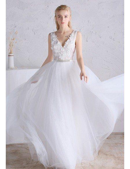 Beaded Floral V-neck White Tulle Boho Beach Wedding Dress Open Back