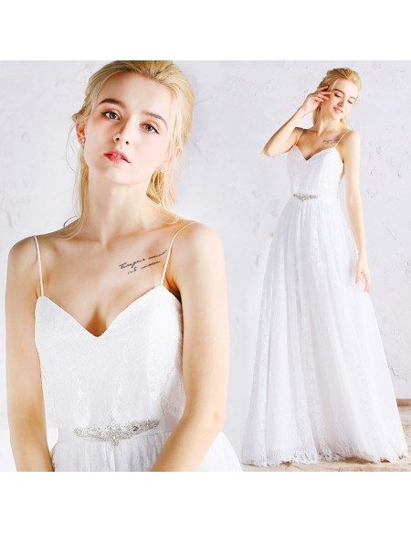 Simple Full Lace A-line Beach Wedding Dress with Spaghetti Straps