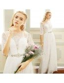 Illusion High Neck Beaded Lace Boho Wedding Dresses with Half Sleeves