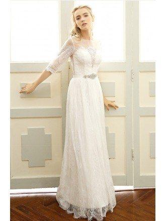 Illusion High Neck Beaded Lace Boho Wedding Dresses with Half Sleeves