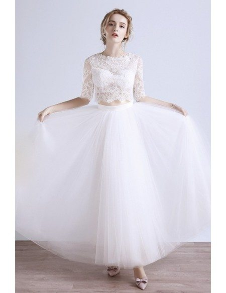 2017 New Two-piece Lace Boho Beach Wedding Dress Half Sleeves