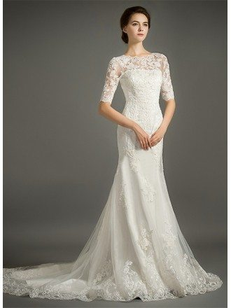 Feminine Mermaid High-neck Sweep Train Tulle Wedding Dress With Appliques Lace
