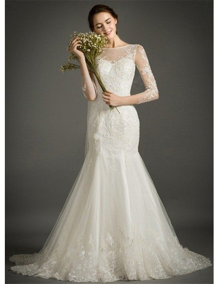 Feminine Mermaid High-neck Court Train Tulle Wedding Dress With Appliques Lace