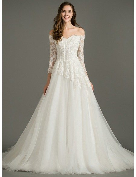 Dreamy A-Line Off-the-Shoulder Court Train Tulle Wedding Dress With Lace Sleeves