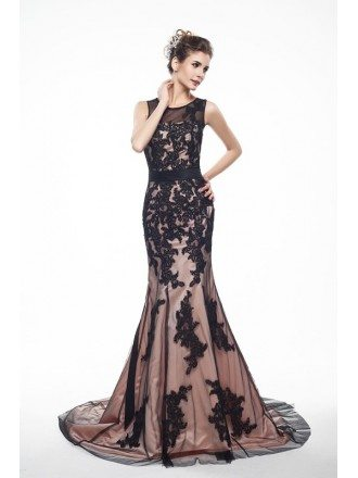 Best Lace Tulle Long Mermaid Formal Dress with Train