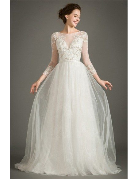 Special A-line High-neck Sweep Train Tulle Wedding Dress With Embroidery Sleeves