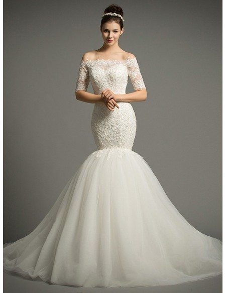 Dreamy Mermaid Off-the-Shoulder Chapel Train Tulle Wedding Dress With Appliques Lace