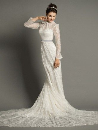 Modest A-Line High-neck Cathedral Train Lace Wedding Dress With Long Sleeves