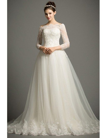 Classic Ball-gown Off-the-shoulder Cathedral Train Tulle Wedding Dress With Lace Sleeves