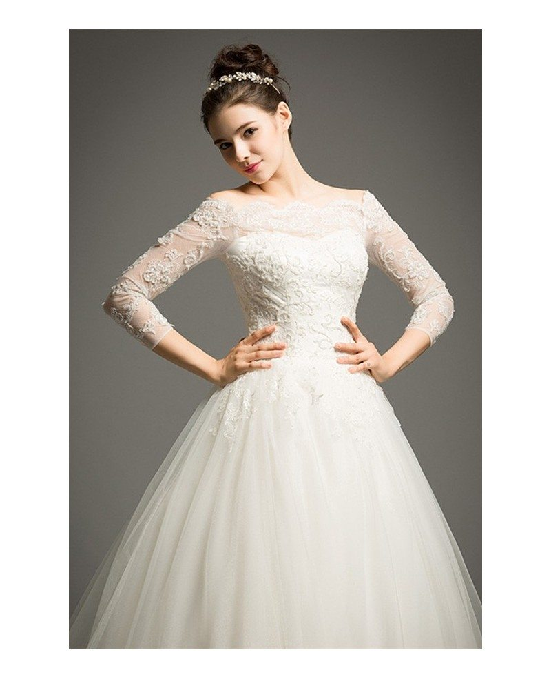 Classic Ball-gown Off-the-shoulder Cathedral Train Tulle
