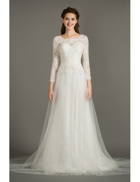 Modest A-Line Scoop Neck Sweep Train Tulle Wedding Dress With Long Lace Sleeves