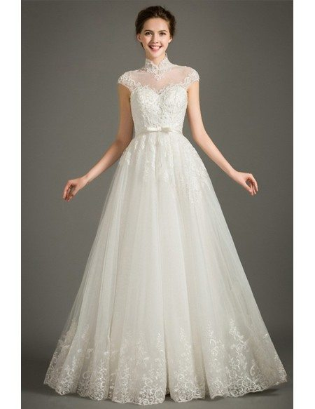 Modest A Line Lace Wedding Dress With Cap Sleeves High Neck Floor Length Lace Tulle Style Tz029 330 Gemgracecom