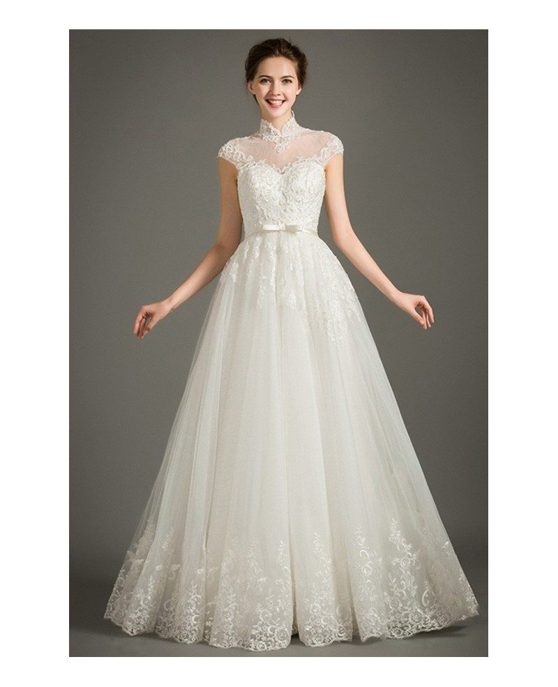 Adding Cap Sleeves Wedding Dress To: Modest A Line Lace Wedding Dress With Cap Sleeves High