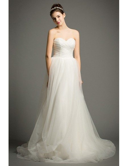 Simple A-Line Sweetheart Court Train Tulle Wedding Dress With Ruffle