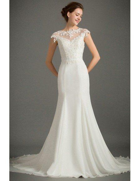 Feminine Mermaid High-neck Sweep Train Satin Wedding Dress With Cap Sleeve