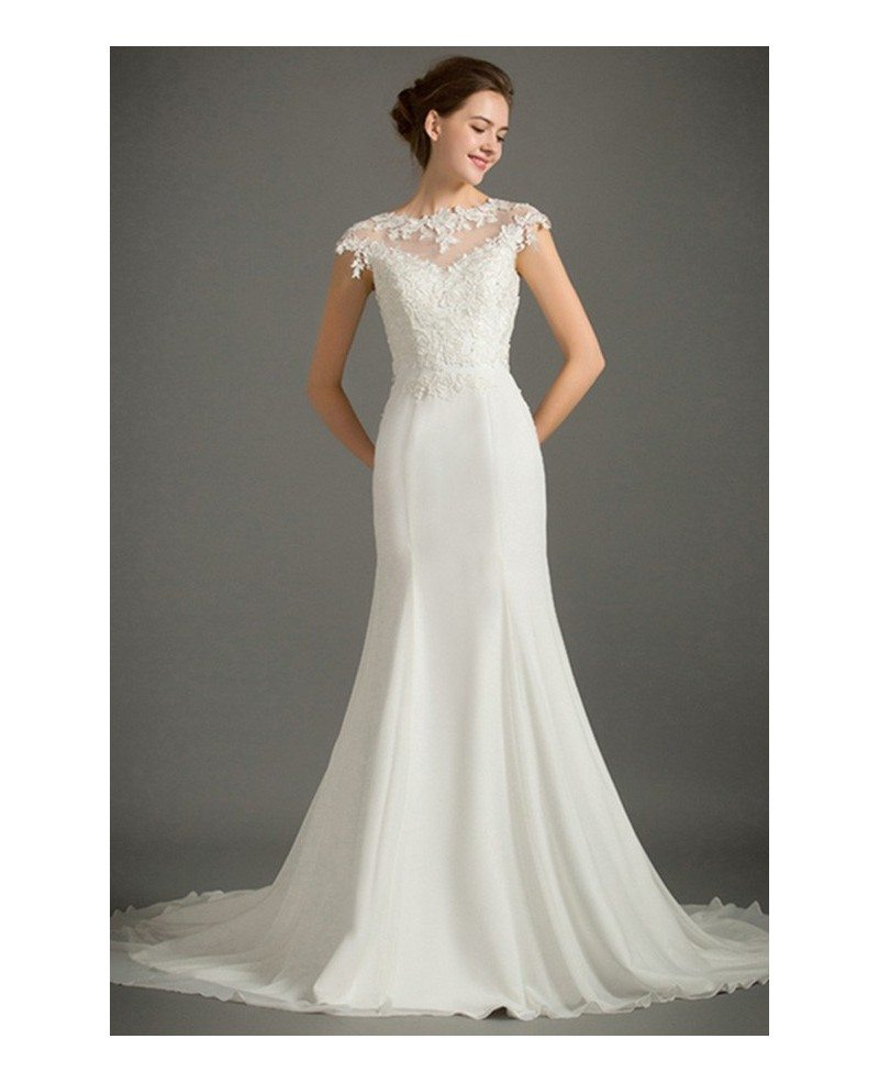 Wedding Gowns With Cap Sleeves: Feminine Mermaid High-neck Sweep Train Satin Wedding Dress