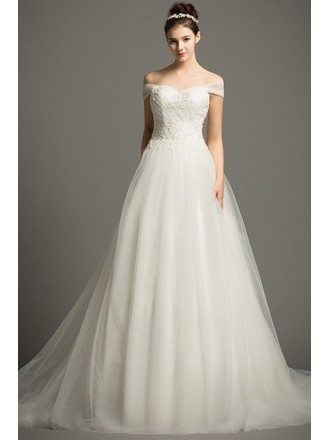 Dreamy Ball-gown Off-the-Shoulder Court Train Tulle Wedding Dress With Beading