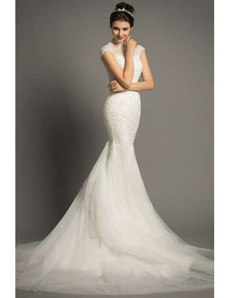 Elegant Mermaid High-neck Court Train Lace Tulle Wedding Dress With Cap Sleeve