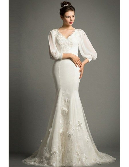 Elegant Mermaid V-neck Sweep Train Satin Wedding Dress With Half Sleeve