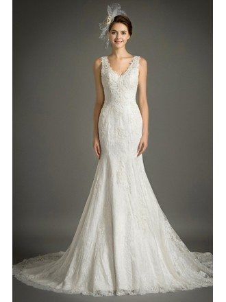 Feminine Mermaid V-neck Court Train Lace Wedding Dress With Ruffle
