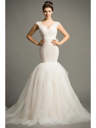 Modern Mermaid V-neck Court Train Tulle Wedding Dress With Ruffle