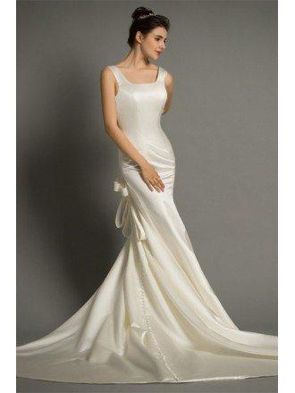Modern Mermaid Scoop Neck Sweep Train Satin Wedding Dress With Open Back