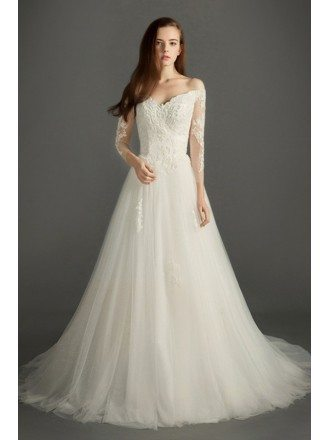 Feminine A-line V-neck Court Train Tulle Wedding Dress With Sleeves
