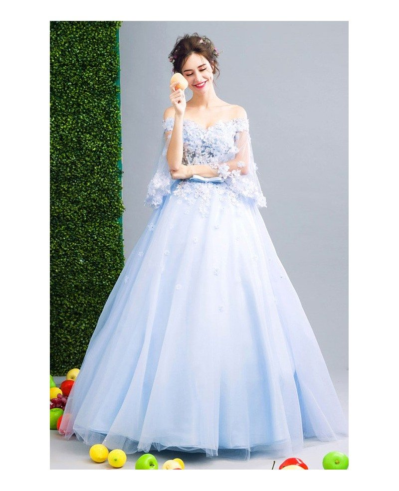 Blue Ball-gown Off-the-shoulder Floor-length Tulle Wedding