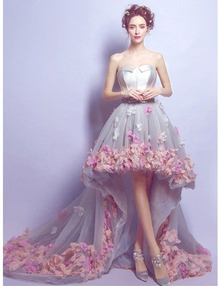Dreamy High Low Sweetheart Tulle Wedding Dress With Flowers