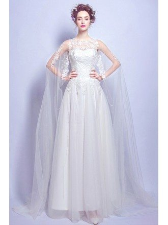 Special A-line Scoop Neck Floor-length Tulle Wedding Dress With Lace