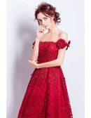 Red A-line Off-the-shoulder Short Lace Wedding Dress With Beading
