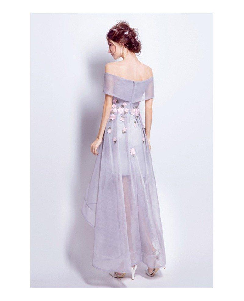 Off Shoulder High Low Wedding Dresses Tea Length Tulle