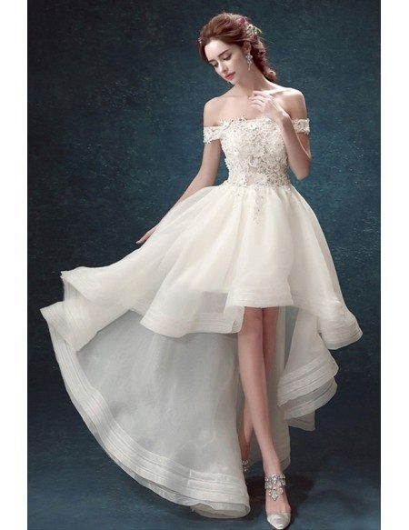 Chic High Low Off-the-shoulder Tulle Wedding Dress With Appliques Lace