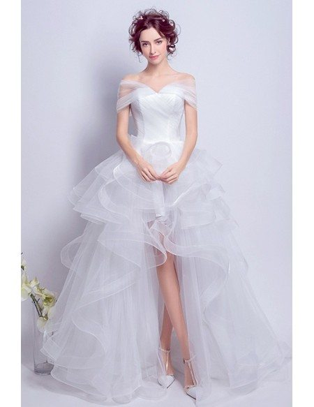 Off Shoulder High Low Wedding Dresses With Train Tulle Ruffles Style Tj022 179 Gemgrace Com