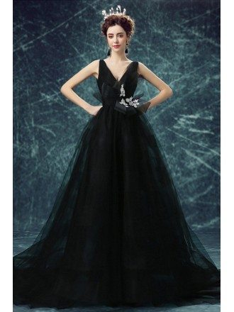 Black Ball-gown V-neck Court Train Tulle Wedding Dress With Open Back