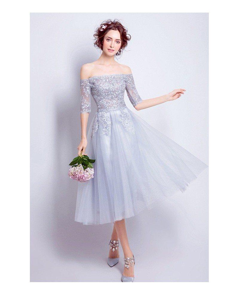 Best A Line Short Party Dresses Off The Shoulder Lace Tea
