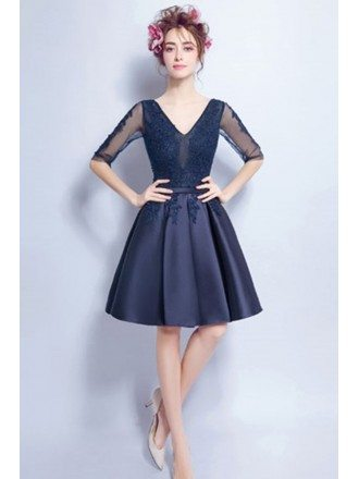 Navy A-line V-neck Short Satin Formal Dress With Appliques Lace