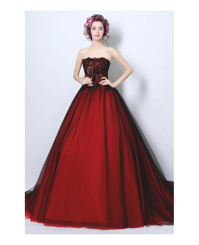 Goth Ball-gown Strapless Cathedral Train Tulle Wedding