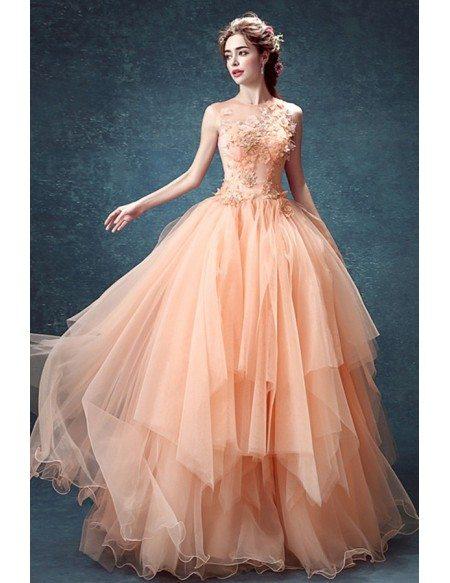 Peach Ball-gown High Neck Floor-length Tulle Wedding Dress With Flowers