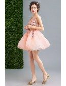 Peach Ball-gown Scoop Neck Short Organza Formal Dress With Flowers