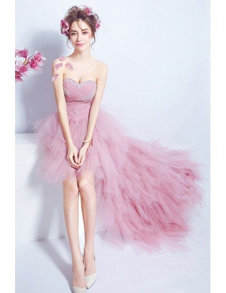 Pink A-line Sweetheart High Low Formal Dress With Sequins