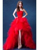 Red Ball-gown Strapless High Low Wedding Dress With Cascading Ruffles