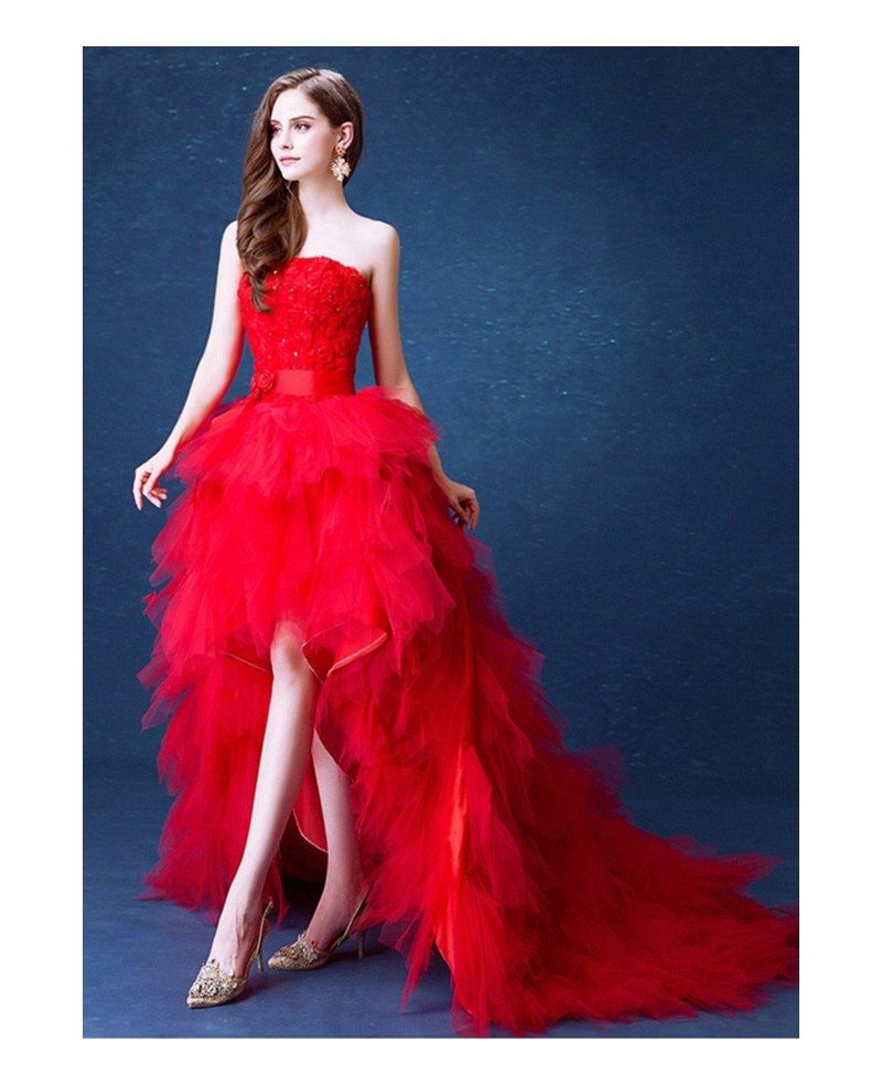 Wedding Gown With Ruffles: Poofy Red High Low Wedding Dresses With Train Ruffles