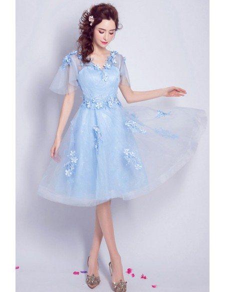Blue A-line V-neck Knee-length Tulle Formal Dress With Flowers