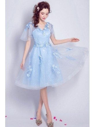 Blue A-line V-neck Knee-length Tulle Formal Dress With Flowers