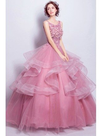 Pink Ball-gown Scoop Neck Floor-length Tulle Wedding Dress With Appliques Lace