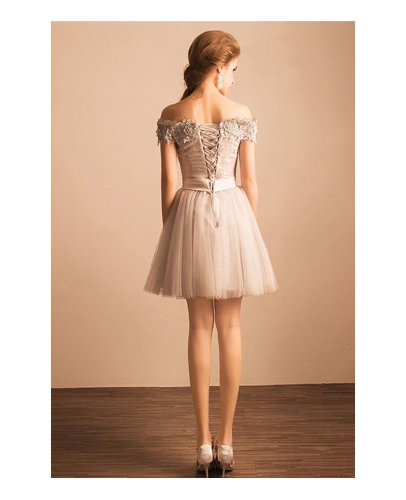 Grey Lace Homecoming Dresses Off Shoulder Short Tulle A