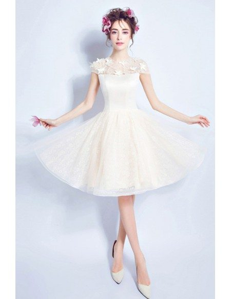 Champagne A-line High Neck Knee-length Tulle Wedding Dress With Flowers
